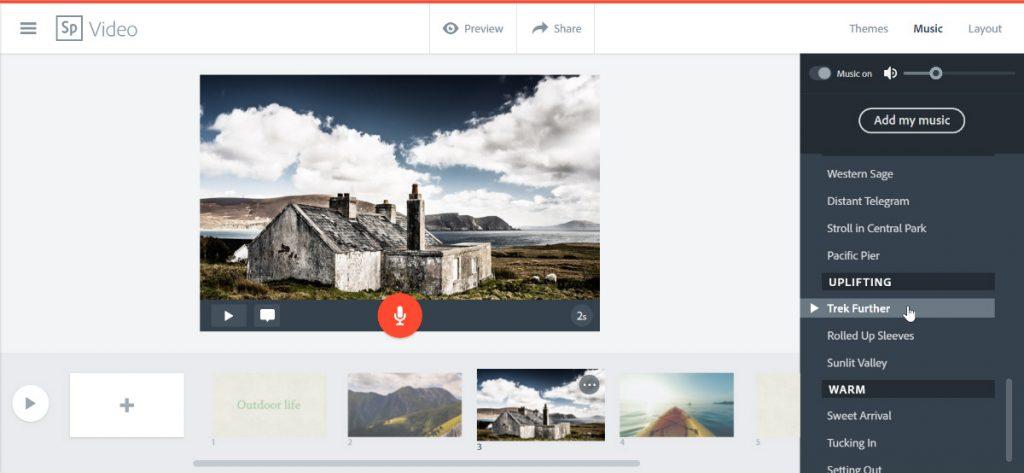 Spark Video selaimessa.
