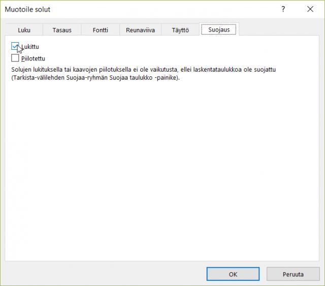 Excel-taulukon suojaus