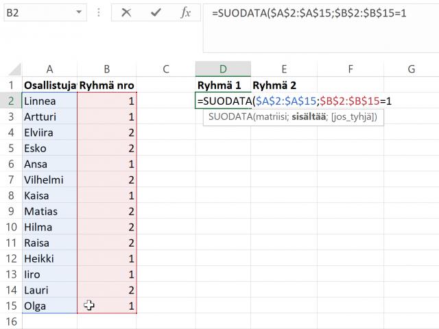 Esimerkki SUODATA-funktion käytöstä.